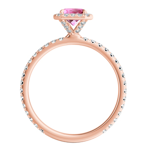 SKYLAR  Halo  Pink  Sapphire  Wedding  Ring  Set  In  14K  Rose  Gold  With  0.50  Carat  Emerald  Stone
