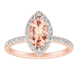 SKYLAR Halo Morganite Engagement Ring In 14K Rose Gold With 2.00 Carat Marquise Stone