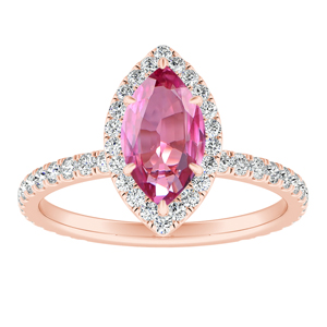 SKYLAR  Halo  Pink  Sapphire  Engagement  Ring  In  14K  Rose  Gold  With  0.50  Carat  Marquise  Stone