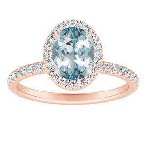 SKYLAR  Halo  Aquamarine  Engagement  Ring  In  14K  Rose  Gold  With  1.00  Carat  Oval  Stone