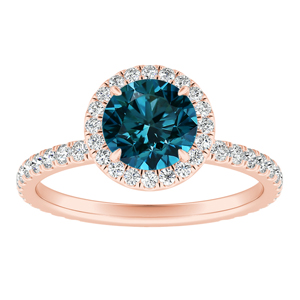 SKYLAR  Halo  Blue  Diamond  Engagement  Ring  In  14K  Rose  Gold  With  0.50  Carat  Round  Diamond