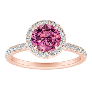 SKYLAR  Halo  Pink  Sapphire  Engagement  Ring  In  14K  Rose  Gold  With  0.50  Carat  Round  Stone