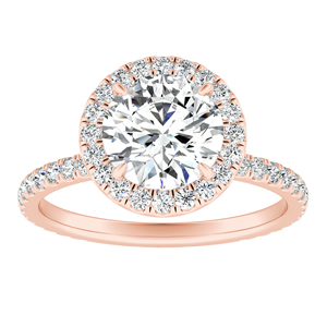 SKYLAR Halo Moissanite Engagement Ring In 14K Rose Gold With 0.75 Carat Round Stone