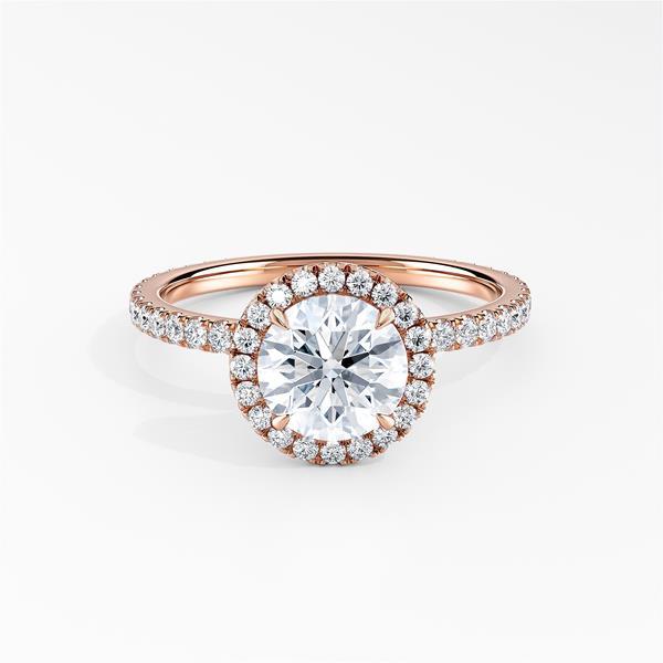 SKYLAR Halo Diamond Engagement Ring In 14K Rose Gold