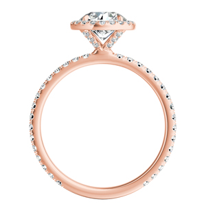 SKYLAR  Halo  Moissanite  Engagement  Ring  In  14K  Rose  Gold  With  0.50  Carat  Round  Stone