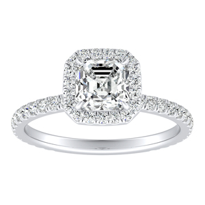 SKYLAR Halo Diamond Engagement Ring In 14K White Gold With 3.00ct. Asscher Diamond