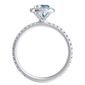 SKYLAR  Halo  Aquamarine  Engagement  Ring  In  14K  White  Gold  With  1.00  Carat  Cushion  Stone