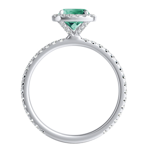 SKYLAR  Halo  Green  Emerald  Wedding  Ring  Set  In  14K  White  Gold  With  0.50  Carat  Cushion  Stone