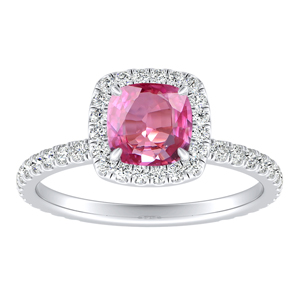 SKYLAR  Halo  Pink  Sapphire  Engagement  Ring  In  14K  White  Gold  With  0.50  Carat  Cushion  Stone