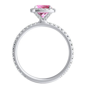 SKYLAR  Halo  Pink  Sapphire  Wedding  Ring  Set  In  14K  White  Gold  With  0.50  Carat  Cushion  Stone