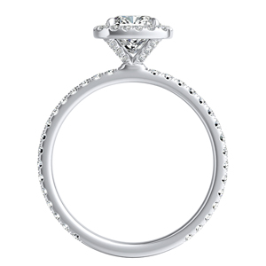 SKYLAR Halo Diamond Engagement Ring In 14K White Gold With 3.00ct. Cushion Diamond