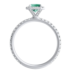 SKYLAR  Halo  Green  Emerald  Engagement  Ring  In  14K  White  Gold  With  0.50  Carat  Emerald  Stone