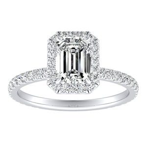 SKYLAR Halo Diamond Engagement Ring In 14K White Gold With 2.00ct. Emerald Diamond