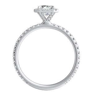 SKYLAR Halo Diamond Engagement Ring In 14K White Gold With 3.00ct. Emerald Diamond
