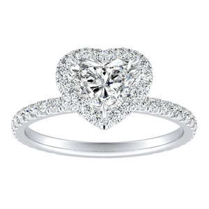 SKYLAR Halo Diamond Engagement Ring In 14K White Gold With 1.00ct. Heart Diamond