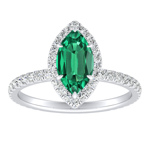 SKYLAR  Halo  Green  Emerald  Engagement  Ring  In  14K  White  Gold  With  0.50  Carat  Marquise  Stone