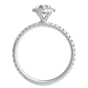 SKYLAR Halo Diamond Engagement Ring In 14K White Gold With 1.00ct. Marquise Diamond