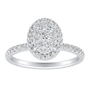 SKYLAR Halo Diamond Engagement Ring In 14K White Gold With Oval Diamond In H-I SI1-SI2 Quality
