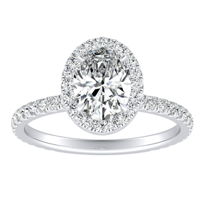 SKYLAR Halo Diamond Engagement Ring In 14K White Gold With 3.00ct. Oval Diamond