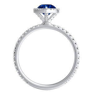 SKYLAR  Halo  Blue  Sapphire  Engagement  Ring  In  14K  White  Gold  With  0.50  Carat  Pear  Stone