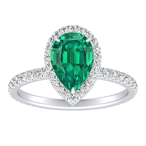 SKYLAR  Halo  Green  Emerald  Engagement  Ring  In  14K  White  Gold  With  0.50  Carat  Pear  Stone