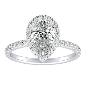 SKYLAR Halo Diamond Engagement Ring In 14K White Gold With 3.00ct. Pear Diamond