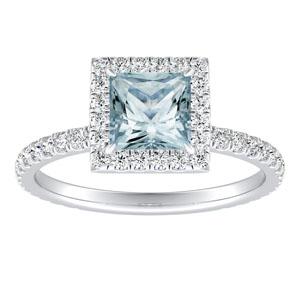 SKYLAR  Halo  Aquamarine  Engagement  Ring  In  14K  White  Gold  With  1.00  Carat  Princess  Stone