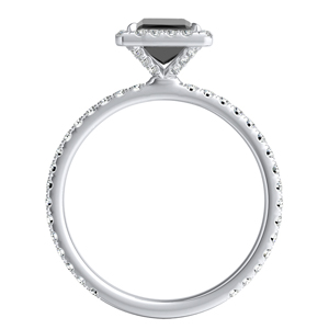 SKYLAR  Halo  Black  Diamond  Engagement  Ring  In  14K  White  Gold  With  1.00  Carat  Princess  Diamond