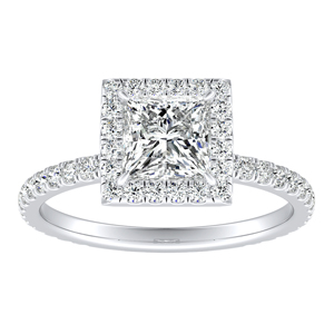 SKYLAR Halo Diamond Engagement Ring In 14K White Gold With 1.00ct. Princess Diamond