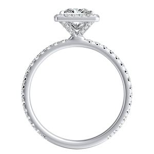 SKYLAR Halo Diamond Engagement Ring In 14K White Gold With 3.00ct. Princess Diamond