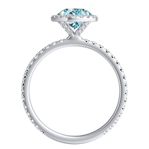 SKYLAR  Halo  Aquamarine  Engagement  Ring  In  14K  White  Gold  With  1.00  Carat  Round  Stone