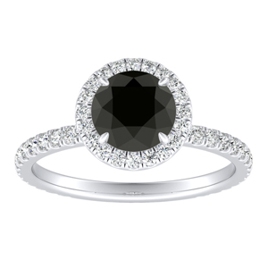 SKYLAR  Halo  Black  Diamond  Engagement  Ring  In  14K  White  Gold  With  1.00  Carat  Round  Diamond