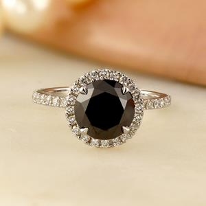 SKYLAR  Halo  Black  Diamond  Engagement  Ring  In  14K  White  Gold  With  1.00  Carat  Round  Diamond