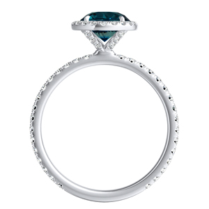 SKYLAR  Halo  Blue  Diamond  Engagement  Ring  In  14K  White  Gold  With  0.50  Carat  Round  Diamond