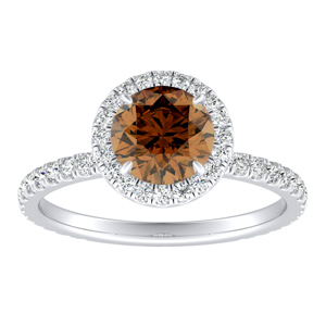 SKYLAR  Halo  Brown  Diamond  Engagement  Ring  In  14K  White  Gold  With  0.50  Carat  Round  Diamond