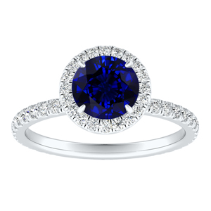SKYLAR  Halo  Blue  Sapphire  Engagement  Ring  In  14K  White  Gold  With  0.50  Carat  Round  Stone