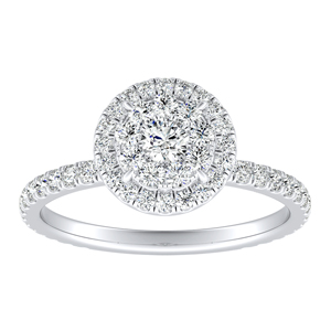 SKYLAR Halo Diamond Engagement Ring In 14K White Gold With Round Diamond In H-I SI1-SI2 Quality