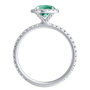 SKYLAR  Halo  Green  Emerald  Engagement  Ring  In  14K  White  Gold  With  0.50  Carat  Round  Stone