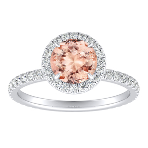 SKYLAR Halo Morganite Engagement Ring In 14K White Gold With 1.00 Carat Round Stone