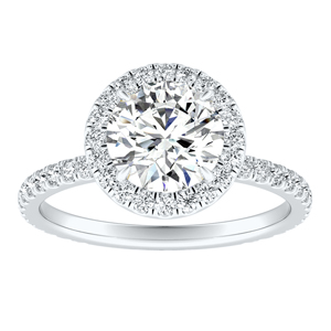 SKYLAR Halo Moissanite Engagement Ring In 14K White Gold With 0.50 Carat Round Stone