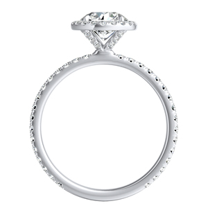 SKYLAR  Halo  Moissanite  Wedding  Ring  Set  In  14K  White  Gold  With  0.50  Carat  Round  Stone