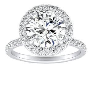 SKYLAR Halo Diamond Engagement Ring In 14K White Gold With 2.00ct. Round Diamond