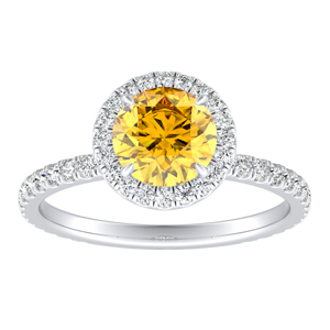 SKYLAR  Halo  Yellow  Diamond  Engagement  Ring  In  14K  White  Gold  With  0.50  Carat  Round  Diamond