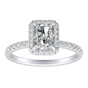 SKYLAR Halo Diamond Engagement Ring In 14K White Gold With 3.00ct. Radiant Diamond