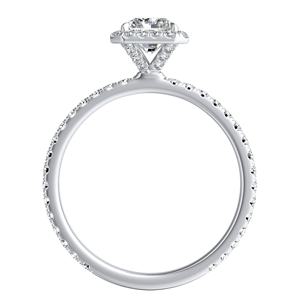 SKYLAR Halo Diamond Wedding Ring Set In 14K White Gold With 2.00ct. Radiant Diamond