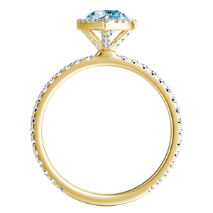 SKYLAR  Halo  Aquamarine  Engagement  Ring  In  14K  Yellow  Gold  With  1.00  Carat  Pear  Stone