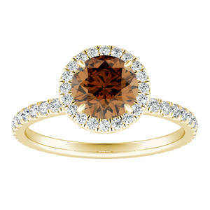SKYLAR  Halo  Brown  Diamond  Engagement  Ring  In  14K  Yellow  Gold  With  0.50  Carat  Round  Diamond