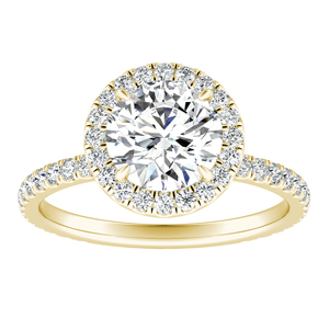 SKYLAR Halo Moissanite Engagement Ring In 14K Yellow Gold With 0.50 Carat Round Stone