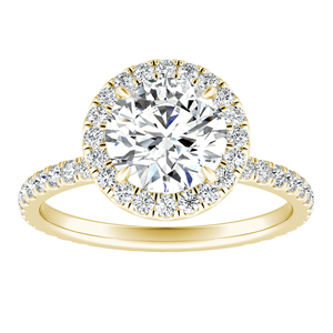 SKYLAR Halo Moissanite Engagement Ring In 14K Yellow Gold With 0.75 Carat Round Stone