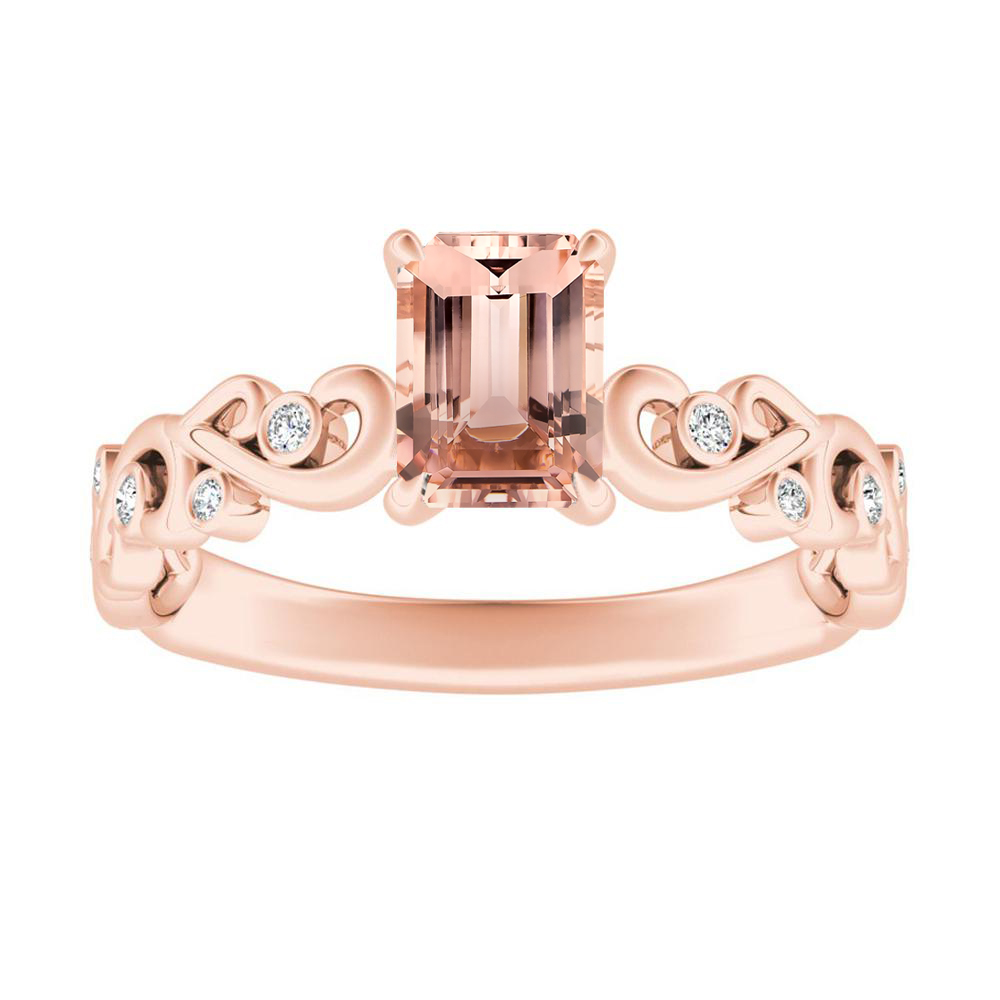 DAISY Morganite Engagement Ring In 14K Rose Gold With 1.00 Carat Emerald Stone